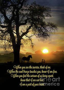 Spiritual Memorial Sympathy Horse and Oak Tree Poem by Stephanie Laird