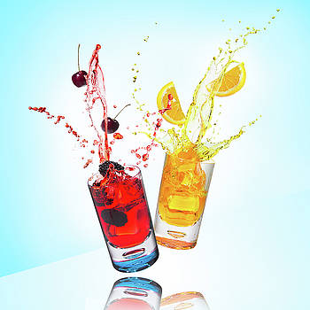 Splashing Drinks and Fruit by Larry Pollock