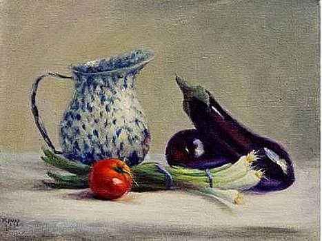 Splatterware Pitcher With Vegetables by Maryanne Rupp