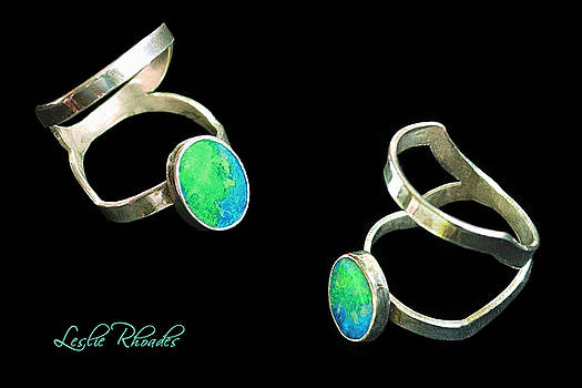 Split Silver Black Opal Ring by Leslie Rhoades
