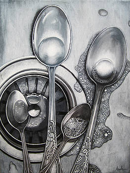 Spoons and stainless steel realistic still life painting by Linda Apple