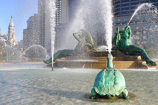 Spraying Water at Swann Fountain - Philadelphia by Bill Cannon
