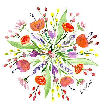 Spring Bouquet Botanical Mandala by Louise Gale