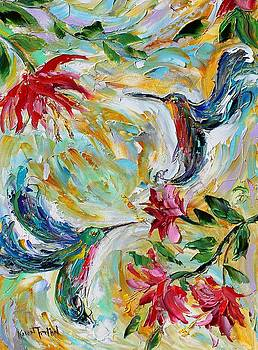 Spring Hummingbirds and Flowers by Karen Tarlton