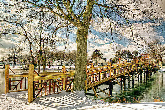 Spring Lake New Jersey Bridge In Snow by Geraldine Scull