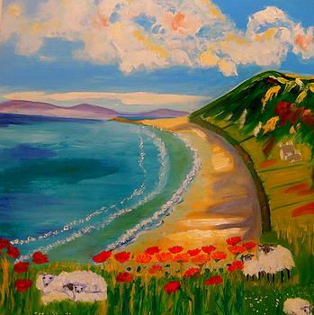 Spring Lambs at Rhossili Bay by Rusty Woodward Gladdish