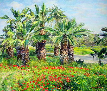 Spring, palms and red-orange anemones.  by Maya Bukhina