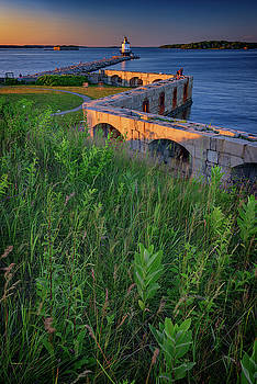 Spring Point Ledge Light and Fort Preble by Rick Berk