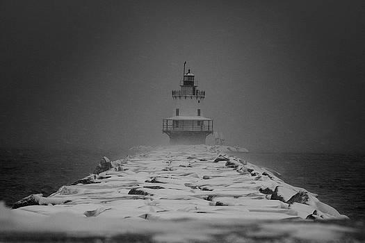 Spring Point Ledge Lighthouse Blizzard in Black n White by Darryl Hendricks