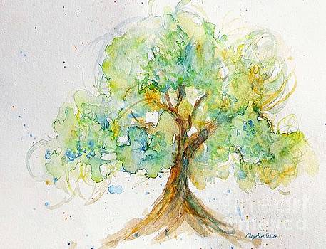 Spring Tree watercolor by CheyAnne Sexton