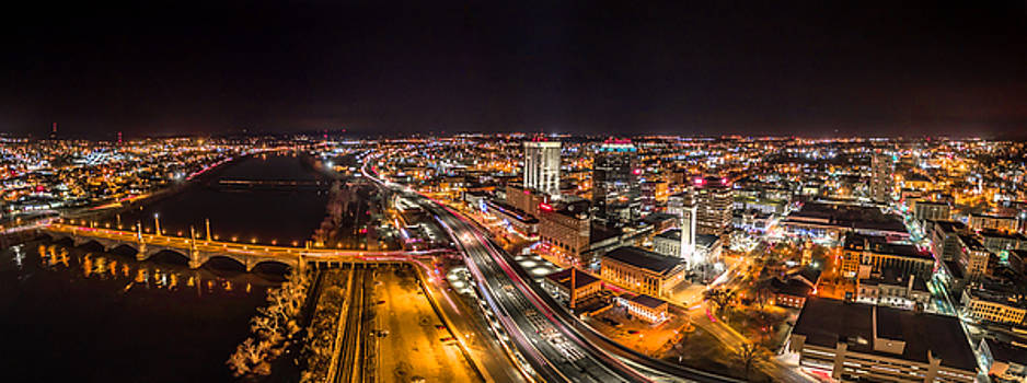 Springfield Massachusetts Night Long Exposure Panorama by Petr Hejl