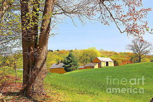 Springtime At A Connecticut Farm by Marcel  J Goetz  Sr