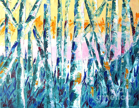 Springtime in theWoods Pallet Knife Painting by Lisa Boyd