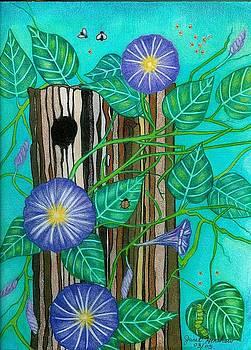 Springtime Purple Morning Glories by Janet Hinshaw