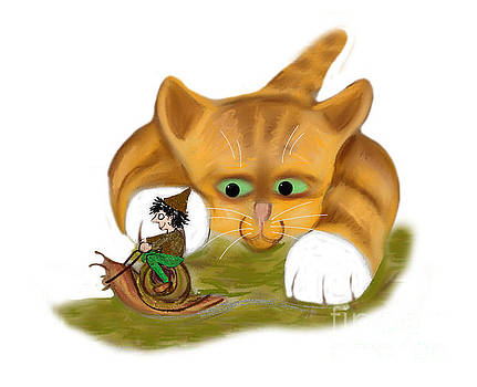 Sprite rides a Snail Past Kitty by Ellen Miffitt