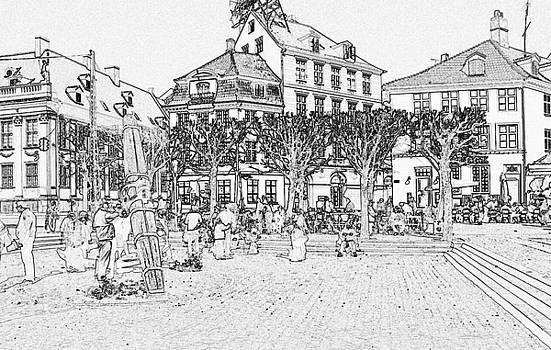 Square In Copenhagen At Nyhavn by Sascha Meyer