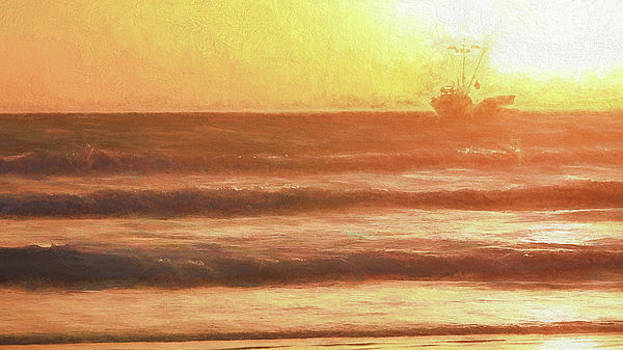 Squid Boat Sunset by John A Rodriguez