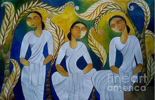 Srilankan Ladies Are Observed Sill On Poyaday by Ceylon Art Gallery