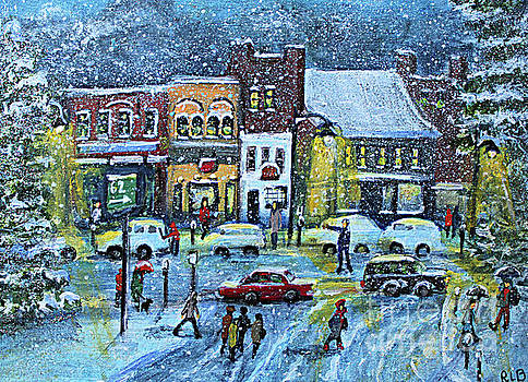 Snowing in Concord Center by Rita Brown