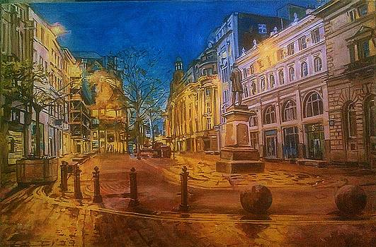 St. Ann's Square, Manchester, at night by Rosanne Gartner