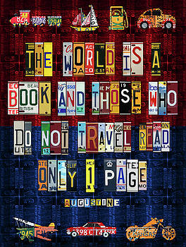 St Augustine Quote on Travel The World is a Book Recycled Vintage License Plate Art by Design Turnpike