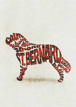 St. Bernard Dog Watercolor Painting / Typographic Art by Ayse and Deniz