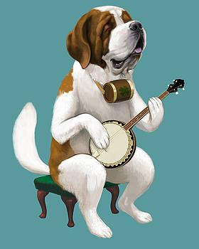 St. Bernard Plays Tenor Banjo by Jon Hammer
