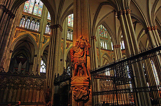 St. Christophorus Statue in Cologne Cathedral Germany by Paul Pobiak