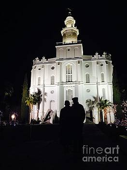 St George LDS Temple at Night during Christmas Season by Richard W Linford