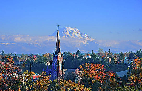 St Joseph Church and Mt Rainier by Jack Moskovita