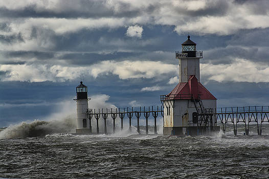Big Waves - St. Joseph Lighthouse by Gej Jones