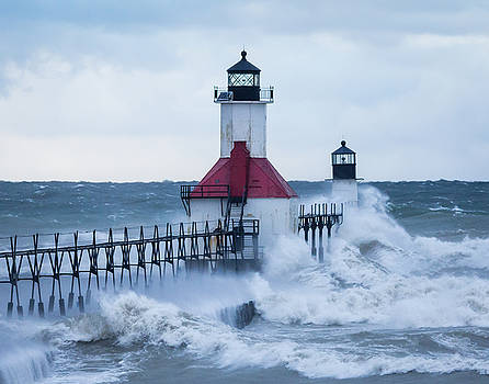 St. Joseph lighthouse with waves by Kimberly Kotzian
