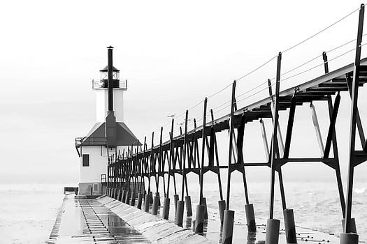 St. Joseph Pier and Lighthouse BW by Laura Greene