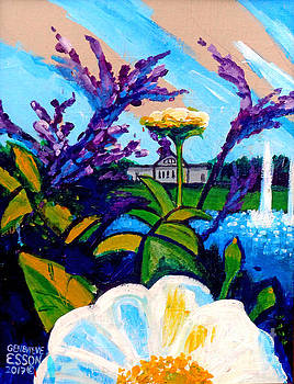 St. Louis Art Museum At Grand Basin With Flowers and Water Fountains 2 by Genevieve Esson