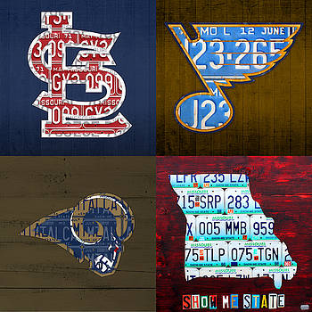 Design Turnpike - St Louis Sports Fan Recycled Vintage Missouri License Plate Art Cardinals Blues Rams