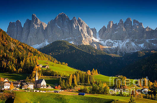 St. Magdalena alpine village in autumn by IPics Photography