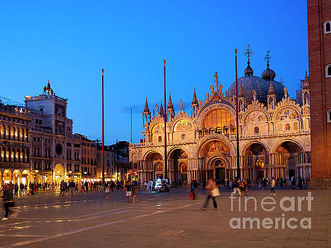 St Mark's Square and the Basilica at night in Venice Italy by Louise Heusinkveld