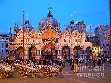 St Mark's Square and the Basilica at night in Venice by Louise Heusinkveld