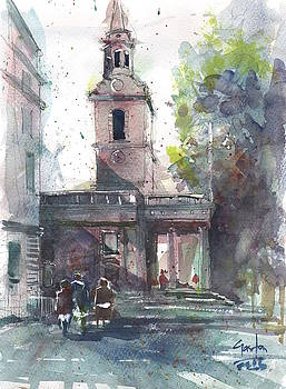 St Martins in the field adjacent Trafalgar Square London by Gaston McKenzie