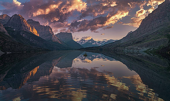 St Mary Lake at dusk Panorama by William Lee