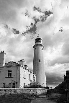 St Mary's Lighthouse buildings BW version by Gary Eason