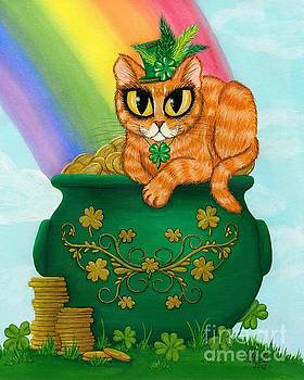 St. Paddy's Day Cat - Orange Tabby by Carrie Hawks