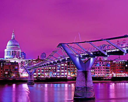 St Pauls and Millennium Bridge over the River Thames by Chris Smith