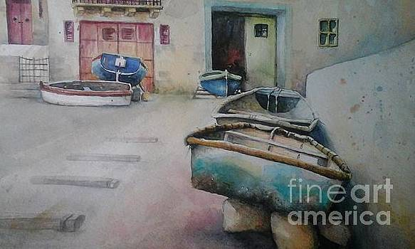 St Paul's Bay boats by Diane Agius