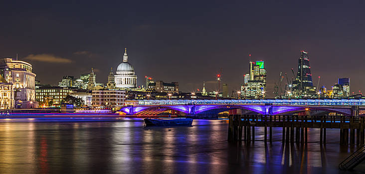 St Pauls cathedral and Blackfriars bridge panorama by Adrian Pollard