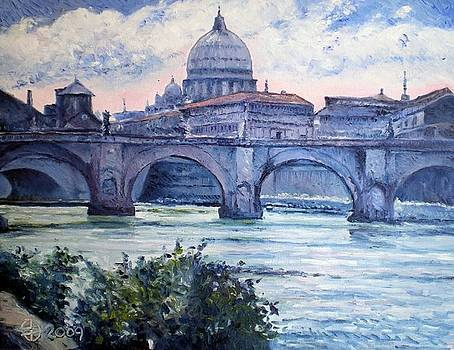 St Peter and Ponte San Angelo Rome Italy 2009 by Enver Larney