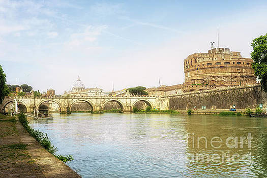 St Peter's Basilica and Castel Sant Angelo Rome by Ann Garrett