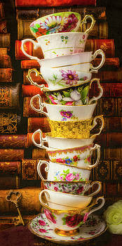 Stacked High tea Cups by Garry Gay