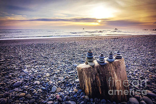Stacked Rocks at Sunset by Joan McCool
