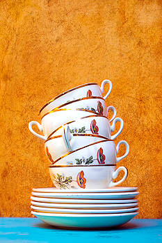Stacked Tea Cups by Elly De vries